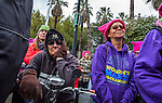 """Thousands of people gathered at Southside Park in Sacramento, California to participate in the Women's March on Sacramento on January 21, 2017.  The Women's March on Sacramento, a """"sister"""" march to the National Women's March on Washington, D.C. began at Southside Park and marched through the city of Sacramento to the California State Capitol Building.  The march, one of hundreds around the world, was in solidarity for the protection of human rights in response to the rhetoric of the 2016 presidential election cycle which witnessed the election of Donald Trump to be the 45th president of the United States.  Photo/Victoria Sheridan 2017"""
