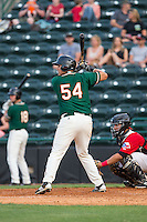 Arturo Rodriguez (54) of the Greensboro Grasshoppers at bat against the Hickory Crawdads at L.P. Frans Stadium on May 6, 2015 in Hickory, North Carolina.  The Crawdads defeated the Grasshoppers 1-0.  (Brian Westerholt/Four Seam Images)