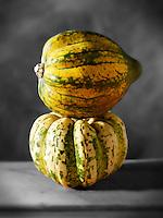 Whole green & yellow pumpkins