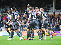 Lincoln City players celebrate their third goal<br /> <br /> Photographer Andrew Vaughan/CameraSport<br /> <br /> The EFL Sky Bet League Two - Port Vale v Lincoln City - Saturday 13th October 2018 - Vale Park - Burslem<br /> <br /> World Copyright © 2018 CameraSport. All rights reserved. 43 Linden Ave. Countesthorpe. Leicester. England. LE8 5PG - Tel: +44 (0) 116 277 4147 - admin@camerasport.com - www.camerasport.com