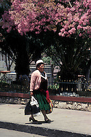 Indigenous woman striding down a street in Riobabmba, Ecuador