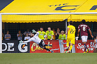 21 AUGUST 2010:  Colorado Rapids goalkeeper Matt Pickens (18) dives for a Guillermo Barros Schelotto of the Columbus Crew (7) penalty kick during MLS soccer game between Colorado Rapids vs Columbus Crew at Crew Stadium in Columbus, Ohio on August 21, 2010.