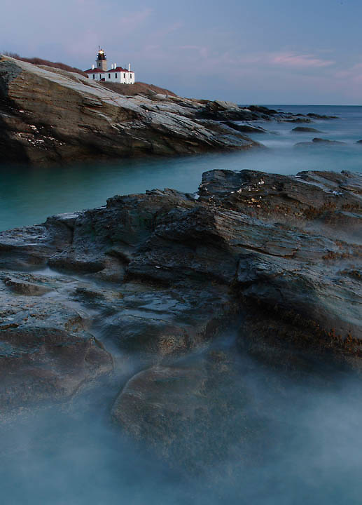 The sea appears misty along the shore of Beavertail, Jamestown.