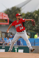Carolina Mudcats pitcher Victor Diaz (34) on the mound during a game against the Myrtle Beach Pelicans at Ticketreturn.com Field at Pelicans Ballpark on June 15 , 2018 in Myrtle Beach, South Carolina. Carolina defeated Myrtle Beach 4-2. (Robert Gurganus/Four Seam Images)