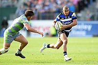 Jonathan Joseph of Bath Rugby goes on the attack. Aviva Premiership match, between Bath Rugby and Newcastle Falcons on September 23, 2017 at the Recreation Ground in Bath, England. Photo by: Patrick Khachfe / Onside Images