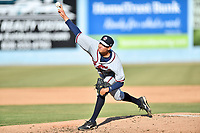 Rome Braves starting pitcher Alan Rangel (26) delivers a pitch during a game against the Asheville Tourists at McCormick Field on June 10, 2017 in Asheville, North Carolina. The Braves defeated the Tourists 4-2. (Tony Farlow/Four Seam Images)