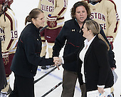Katie King Crowley (BC - Head Coach), Courtney Kennedy (BC - Assistant Coach), Sara Simard (Maine - Assistant Coach) - The Boston College Eagles defeated the visiting University of Maine Black Bears 5 to 1 on Sunday, October 6, 2013, in their Hockey East season opener at Kelley Rink in Conte Forum in Chestnut Hill, Massachusetts.