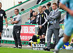 Hibs v St Johnstone...25.08.12   SPL.Pat Fenlon and Steve Lomas watch the game.Picture by Graeme Hart..Copyright Perthshire Picture Agency.Tel: 01738 623350  Mobile: 07990 594431
