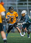 16 April 2016: University of Maryland, Baltimore County Retriever Midfielder Jack Gannon, a Senior from Lake Ronkonkoma, NY, in action against the University of Vermont Catamounts at Virtue Field in Burlington, Vermont. The Retrievers fell to the Catamounts 14-10 in NCAA Division I play. Mandatory Credit: Ed Wolfstein Photo *** RAW (NEF) Image File Available ***