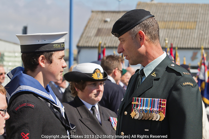 Lt Col Peter Kouri RCD (CA) of the Defence Academy of the United Kingdom at the 71st Anniversary of the Dieppe Raid held at Newhaven Fort, East Sussex followed by a Memorial Service at the Canadian Memorial at South Way. March of the Standard Bearers and Veterans from Denton Island to the Memorial