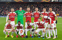 Arsenal team top row ( L to R ): Sead Kolasinac; Petr Cech; Shkodran Mustafi; Laurent Koscielny; Granit Xhaka; Pierre - Emerick Aubameyang;<br /> low row ( L to R ): Aaron Ramsey; Ainsley Maitland-Niles; Alexandre Lacazette; Nacho Monreal; Mesut Ozil before  the UEFA Europa League match between Arsenal and Rennes at the Emirates Stadium, London, England on 14 March 2019. Photo by Andrew Aleksiejczuk / PRiME Media Images.