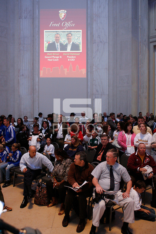 Fans and media await the start of the signing ceremony for the WPS Philadelphia Independence at the Franklin Institute in Philadelphia, PA, on May 18, 2009.