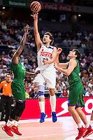Real Madrid's player Sergio Llull and Unicaja Malaga's player Oliver Lafayette and Carlos Suarez during match of Liga Endesa at Barclaycard Center in Madrid. September 30, Spain. 2016. (ALTERPHOTOS/BorjaB.Hojas) /NORTEPHOTO