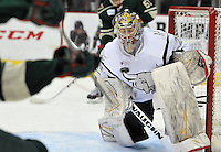 San Antonio Rampage goaltender Michael Houser makes a save during the first period of an AHL hockey game against the Iowa Wild, Saturday, Jan. 25, 2014, in San Antonio (Darren Abate/AHL)