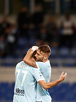 Calcio, Serie A: Roma, stadio Olimpico, 22 ottobre 2017.<br /> Lazio's Ciro Immobile (r) celebrates after scoring with his teammate Adam Marusic (l) during the Italian Serie A football match between Lazio and Cagliari at Rome's Olympic stadium, October 22, 2017.<br /> UPDATE IMAGES PRESS/Isabella Bonotto