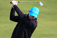 Keaton Morrison (Greenacres) has a practice swing on the 10th during Round 3 of the Ulster Boys Championship at Royal Portrush Golf Club, Valley Links, Portrush, Co. Antrim on Thursday 1st Nov 2018.<br /> Picture:  Thos Caffrey / www.golffile.ie<br /> <br /> All photo usage must carry mandatory copyright credit (&copy; Golffile | Thos Caffrey)