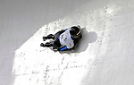 15 December 2006: Desiree Bjerke from Norway, banks through a turn at the FIBT Women's World Cup Skeleton Competition at the Olympic Sports Complex on Mount Van Hoevenburg  in Lake Placid, New York, USA. &amp;#xA;&amp;#xA;Mandatory Photo credit: Ed Wolfstein Photo<br />