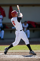 Chris Anninos (6) of the St. John's Red Storm follows through on his swing versus the North Carolina Tar Heels at the 2008 Coca-Cola Classic at the Winthrop Ballpark in Rock Hill, SC, Sunday, March 2, 2008.