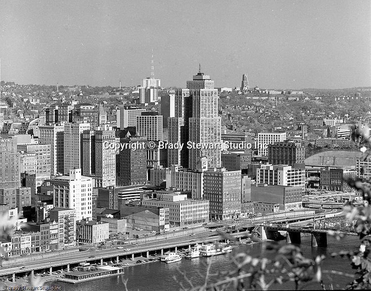 Pittsburgh Pa:  View from Mt Washington of the Grant Building in downtown Pittsburgh - 1968.  Photographic assignment was for a brochure to highlight upgrades to the building and to solicit more tenants.  The 40 story Grant Building is located at 310 Grant Street and was built in 1929.