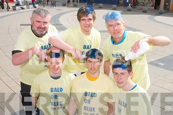 Pictured promoting the Tralee Rugby Clubs ''Bald or Blue'' event in the Square, Tralee on Tuesday. Back row, from left: Paul Moore, Coleman Moore and Ciaran O'Nuallain. Front row: Fearghal O'Nuallain, Johnathon O'Halloran and Sean Doyle.