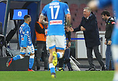 2nd February 2019, Stadio San Paolo, Naples, Italy; Serie A football, Napoli versus Sampdoria; Lorenzo Insigne of Napoli celebrates with manager Carlo Ancelotti after scoring in the 26th minute for 2-0