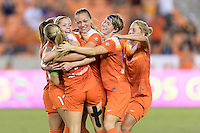 Houston, TX - Sunday Sept. 25, 2016: Denise O'Sullivan, Kealia Ohai celebrates scoring, Cami Privett, Rebecca Moros, Ellie Brush during a regular season National Women's Soccer League (NWSL) match between the Houston Dash and the Seattle Reign FC at BBVA Compass Stadium.