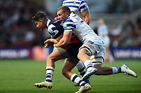 Luke Daniels of Bristol Bears is tackled by Sam Underhill of Bath Rugby. Gallagher Premiership match, between Bristol Bears and Bath Rugby on August 31, 2018 at Ashton Gate Stadium in Bristol, England. Photo by: Patrick Khachfe / Onside Images