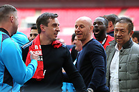 Gary Neville celebrates on the pitch with Nicky Butt, Peter Lim and the players as Salford City win promotion to the Football League during AFC Fylde vs Salford City, Vanarama National League Football Promotion Final at Wembley Stadium on 11th May 2019