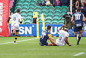 10th September 2017, Sixways Stadium, Worcester, England; Aviva Premiership Rugby, Worcester Warriors versus Wasps; Willie Leroux of Wasps runs down the flank to score a try