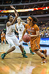 point guard Khadijiah Cave (55) defends Celina Rodrigo during Big 12 women's basketball championship final, Sunday, March 08, 2015 in Dallas, Tex. (Dan Wozniak/TFV Media via AP Images)