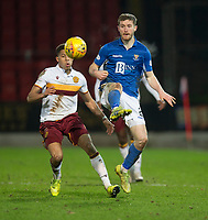 12th February 2020; McDairmid Park, Perth, Perth and Kinross, Scotland; Scottish Premiership Football, St Johnstone versus Motherwell; Anthony Ralston of St Johnstone lifts the ball away from Jermaine Hylton of Motherwell