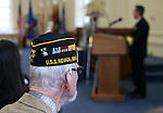 Pearl Harbor Survivor Charles Sehe listens to a speaker the USS Nevada Centennial Ceremony at the Capitol in Carson City, Nev., on Friday, March 11, 2016. <br /> Photo by Cathleen Allison