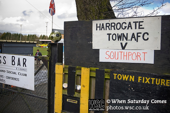 A sign advertising Harrogate Town's fixture against visitors Southport at their Wetherby Road ground. The Conference North match was won 3-2 by Southport, a result which kept the Sandgrounders on course for top spot in the division while Harrogate Town remained bottom.