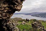 Bosporus Strait, Istanbul, Turkey from Anadolu Kavagi Kalesi, ancient castle,