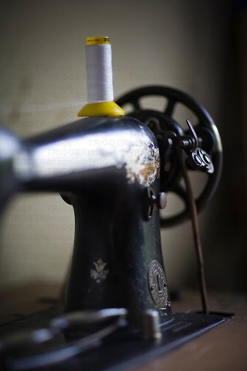 Old Singer brand sewing machine, Seville, Spain