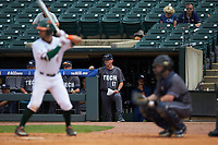 Georgia Tech Yellow Jackets head coach Danny Hall (17) looks on from the dugout against the Miami Hurricanes  during game one of the 2017 ACC Baseball Championship at Louisville Slugger Field on May 23, 2017 in Louisville, Kentucky. The Hurricanes walked-off the Yellow Jackets 6-5 in 13 innings. (Brian Westerholt/Four Seam Images)