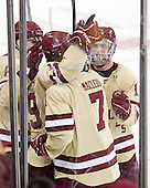Patrick Wey (BC - 6), Chris Kreider (BC - 19), Isaac MacLeod (BC - 7), Pat Mullane (BC - 11) - The Boston College Eagles defeated the visiting University of New Hampshire Wildcats 4-3 on Friday, January 27, 2012, in the first game of a back-to-back home and home at Kelley Rink/Conte Forum in Chestnut Hill, Massachusetts.