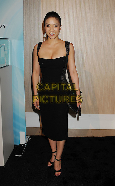 Michelle Kwan.arriving at the 2011 Crystal + Lucy Awards at the Beverly Hilton Hotel in Beverly Hills, California USA,.16th June 2011..full length black dress sleeveless cleavage wedges ankle strap open toe clutch bag .CAP/ROT/TM.© TM/Roth/Capital Pictures