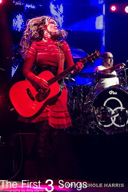 Nancy Wilson of Heart performs with Jason Bonham at Riverbend Music Center in Cincinnati, Ohio.