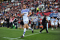 Rhys Priestland and the rest of the Bath Rugby team run out onto the field. Gallagher Premiership match, between Bristol Bears and Bath Rugby on August 31, 2018 at Ashton Gate Stadium in Bristol, England. Photo by: Patrick Khachfe / Onside Images