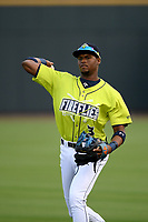 Shortstop Shervyen Newton (3) of the Columbia Fireflies warms up before a game against the Hickory Crawdads on Tuesday, August 27, 2019, at Segra Park in Columbia, South Carolina. Columbia won, 3-2. (Tom Priddy/Four Seam Images)