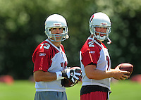 Jun 9, 2008; Tempe, AZ, USA; Arizona Cardinals quarterbacks (13) Kurt Warner and (2) Brian St. Pierre during mini camp at the Cardinals practice facility. Mandatory Credit: Mark J. Rebilas-