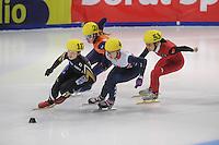 SHORT TRACK: DORDRECHT: Sportboulevard, 13-02-2016, ISU World Cup Short Track Final 2015/2016, Ayuko Ito (#117), Lara van Ruijven (#20), Elise Christie (#4), Hongshuang Li (#53), ©photo Martin de Jong