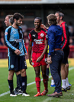 Joe Jacobson of Wycombe Wanderers and Lewis Young of Crawley Town during the Sky Bet League 2 match between Crawley Town and Wycombe Wanderers at Checkatrade.com Stadium, Crawley, England on 29 August 2015. Photo by Liam McAvoy.