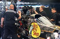 Apr 25, 2015; Baytown, TX, USA; Crew members for NHRA top fuel driver Shawn Langdon during qualifying for the Spring Nationals at Royal Purple Raceway. Mandatory Credit: Mark J. Rebilas-