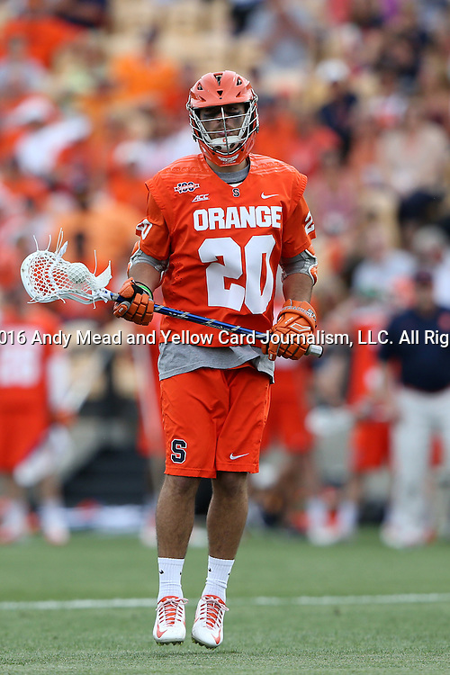 29 April 2016: Syracuse's Nick Weston. The University of North Carolina Tar Heels played the Syracuse University Orange at Fifth Third Bank Stadium in Kennesaw, Georgia in a 2016 Atlantic Coast Conference Men's Lacrosse Tournament semifinal match.