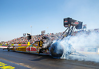 Oct 14, 2017; Ennis, TX, USA; NHRA top fuel driver Leah Pritchett during qualifying for the Fall Nationals at the Texas Motorplex. Mandatory Credit: Mark J. Rebilas-USA TODAY Sports