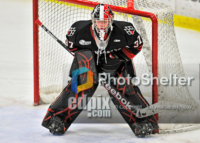 27 January 2012: Northeastern University Huskies' goaltender Chris Rawlings, a Junior from North Delta, British Columbia, in third period action against the University of Vermont Catamounts at Gutterson Fieldhouse in Burlington, Vermont. The Huskies defeated the Catamounts 8-3 in the first game of their 2-game Hockey East weekend series. Mandatory Credit: Ed Wolfstein Photo