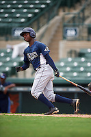 GCL Rays shortstop Adrian Rondon (3) at bat during the second game of a doubleheader against the GCL Orioles on August 1, 2015 at the Ed Smith Stadium in Sarasota, Florida.  GCL Orioles defeated the GCL Rays 11-4.  (Mike Janes/Four Seam Images)