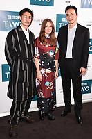 "LONDON, UK. September 25, 2019: Yosuke Kubozuka, Kelly MacDonald & Takehiro Hira at the"" GIRI/HAJI"" screening at the Curzon Bloomsbury, London.<br /> Picture: Steve Vas/Featureflash"
